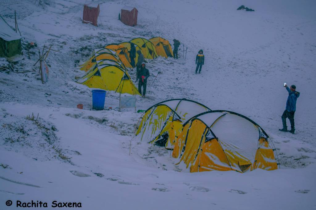 Snowfall at Bekaltal Camp