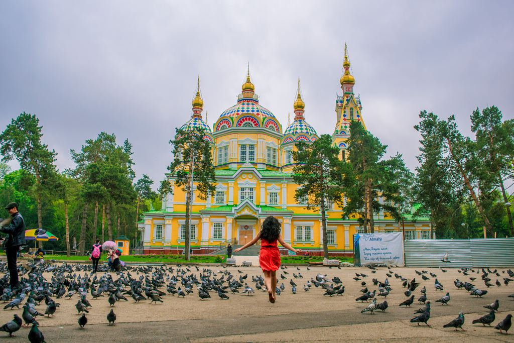 Zenkov Cathedral, Almaty City in Spring Season